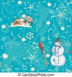Seamless Winter pattern with bunnies on blue background with hand drawn winter doodles