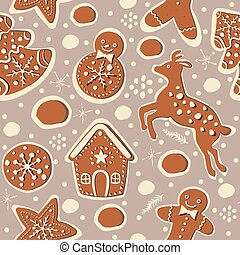 Seamless Winter Pattern with hand drawn cookies and funny...