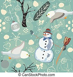 Seamless Winter Pattern with Snowman and Owls. Vector Illustration.