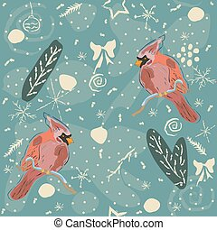 Seamless Winter Pattern with winter doodles and red cardinal birds on blue background