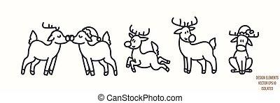 Seamless winter reindeer illustration clipart. Simple gender neutral nursery festive scrapbook sticker. Kids whimsical cute hand drawn cartoon christmas snow deer motif.