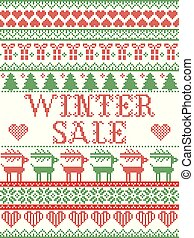 Seamless Winter Sale Scandinavian style, inspired by Norwegian Christmas, festive winter pattern in cross stitch with reindeer, Christmas tree, heart, snowflakes, snow, gift in red, white, green