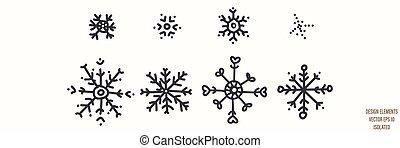 Seamless winter snowflake illustration clipart. Simple gender neutral nursery festive scrapbook sticker. Kids whimsical cute hand drawn cartoon christmas motif.