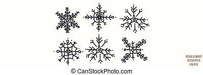 Seamless winter snowflake set illustration clipart. Simple gender neutral nursery festive scrapbook sticker. Kids whimsical cute hand drawn cartoon christmas motif.