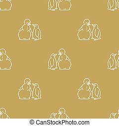 Seamless winter snowman and penguin background pattern. Simple gender neutral nursery festive scrapbook digital paper. Kids whimsical cute cartoon wallpaper all over print.