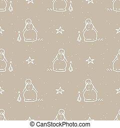 Seamless winter snowman and star background pattern. Simple gender neutral nursery festive scrapbook digital paper. Kids whimsical cute cartoon wallpaper all over print.