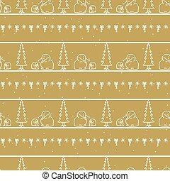 Seamless winter snowman and tree background pattern. Simple gender neutral nursery festive scrapbook digital paper. Kids whimsical cute cartoon wallpaper all over print.
