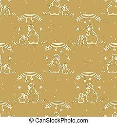 Seamless winter snowman child background pattern. Simple gender neutral nursery festive scrapbook digital paper. Kids whimsical cute cartoon wallpaper all over print.