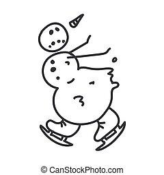 Seamless winter snowman ice skating illustration clipart. Simple gender neutral nursery festive scrapbook sticker. Kids whimsical cute hand drawn cartoon christmas motif.