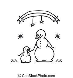 Seamless winter snowman parent scene illustration clipart. Simple gender neutral nursery festive scrapbook sticker. Kids whimsical cute hand drawn cartoon christmas motif.