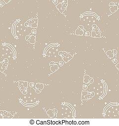Seamless winter snowman scene background pattern. Simple gender neutral nursery festive scrapbook digital paper. Kids whimsical cute cartoon wallpaper all over print.