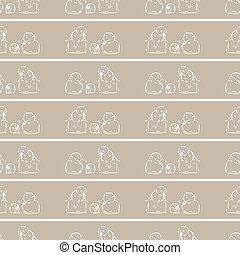 Seamless winter two snowman background pattern. Simple gender neutral nursery festive scrapbook digital paper. Kids whimsical cute cartoon wallpaper all over print.