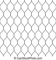 Seamless wired netting fence. Simple black vector illustration on white background