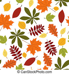 Seamless with autumn leaves - Vector seamless with autumn...