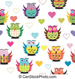 Seamless with carttoon owls