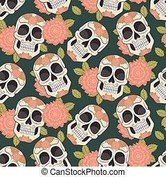 Seamless with sugar skulls. Vector version.