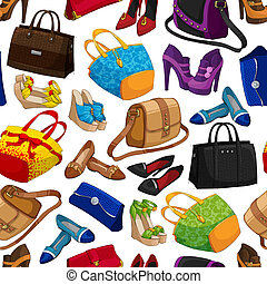 Seamless woman's fashion accessory bags and shoes wallpaper pattern background vector illustration