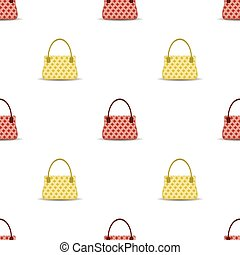 Seamless Womens Handbag Pattern on White Background.