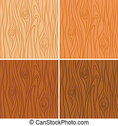 Seamless wooden texture pattern set in 4 colors