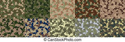 Seamless woodland camo pattern vector. - Big set of seamless...