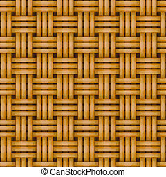 seamless woven wicker rail fence background - vector woven...