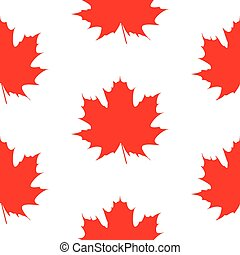 seamless wrapping paper stylized and isolated red maple...