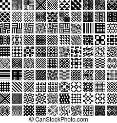 seamless, wzory, 100, set., geometryczny