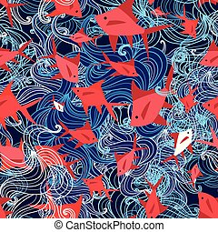 Seamless yarn pattern of a marine red fish - Seamless bright...