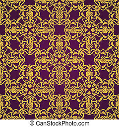 Seamless yellow and violet pattern in arabic or muslim style...