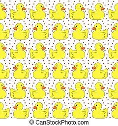 Seamless yellow ducks pattern