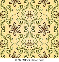 Seamless yellow floral vector pattern.