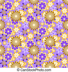 seamless yellow flowers on violet background
