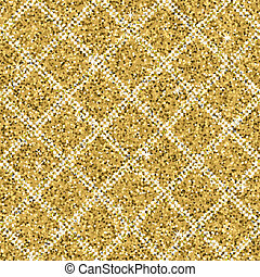 Seamless yellow gold glitter texture with silver diagonal lines. Shimmer background.