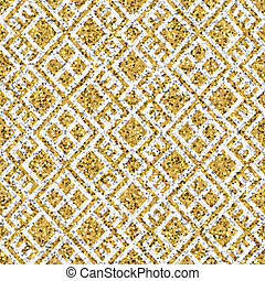 Seamless yellow gold glitter texture with silver geometrical ornament. Shimmer background.