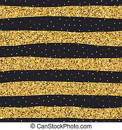 Seamless yellow golden glitter texture. Shimmer background. Gold and black striped background. Vector illustration