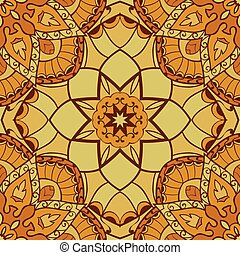 Yellow And Brown Turkish Carpet Pattern Seamless Repeat In Vector