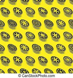 Seamless yellow wheel outline background