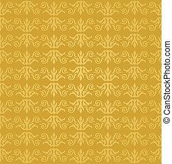 seamless, zlatý, květinový, tapeta
