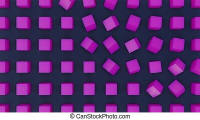Seamlessly looped 3d animation of rotation of purple cubes