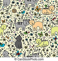 seamlessly pattern with cats - seamlessly pattern with...