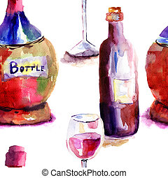 Seamlss wallpaper with Bottles