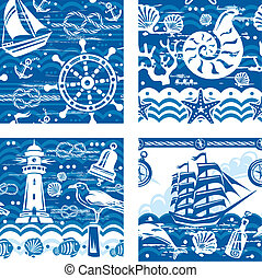 Seampless patterns with Nautical and sea symbols
