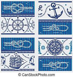 seampless, symbolen, knopen, motieven, nautisch, marinier