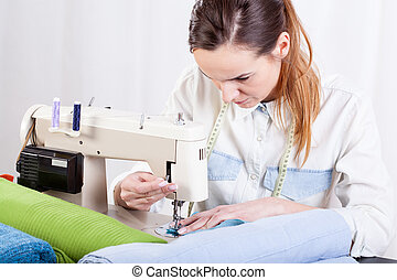 Seamstress at work