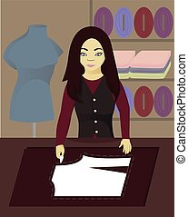 Seamstress encircles the pattern vector illustration