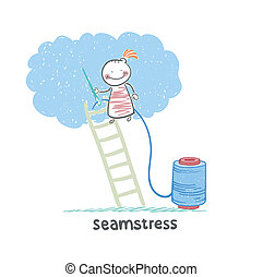 seamstress standing on a ladder and sews cloud