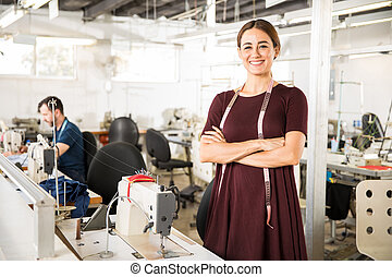 Seamstress working in a factory