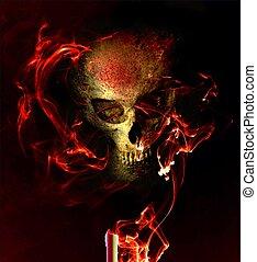 Eerie skull in smoky flames