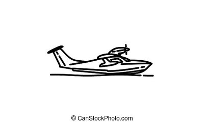 Seaplane line icon on the Alpha Channel
