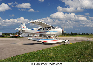 Seaplane parked on the airfield